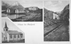 Postkort fra Øksfjord. På bildet nede til venstre er av kirk