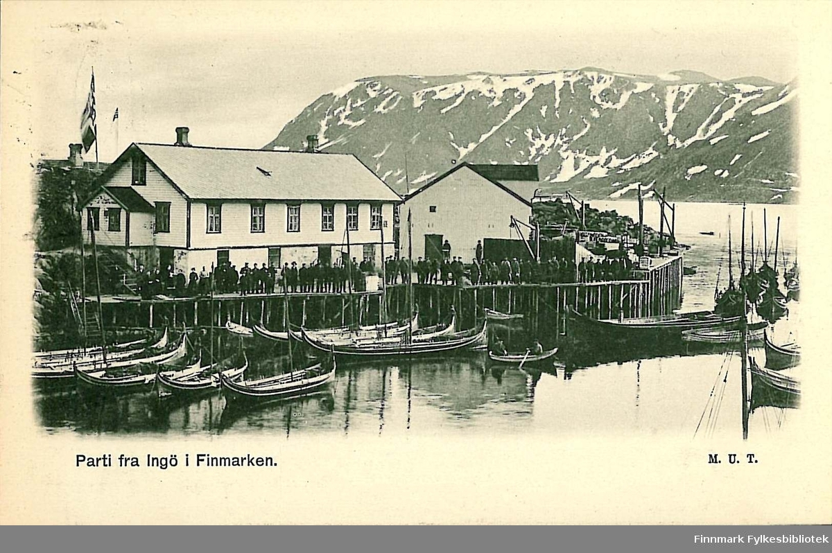 Postkort med motiv fra Ingøy. Korter er sendt i desember 1906 og er en jule- og nyttårshilsen til Arthur og Kirsten Buck på Hasvik.
