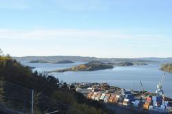 Utsikt fra Ekeberg, havn, fjord, panorama, Bjørvika, Barcode