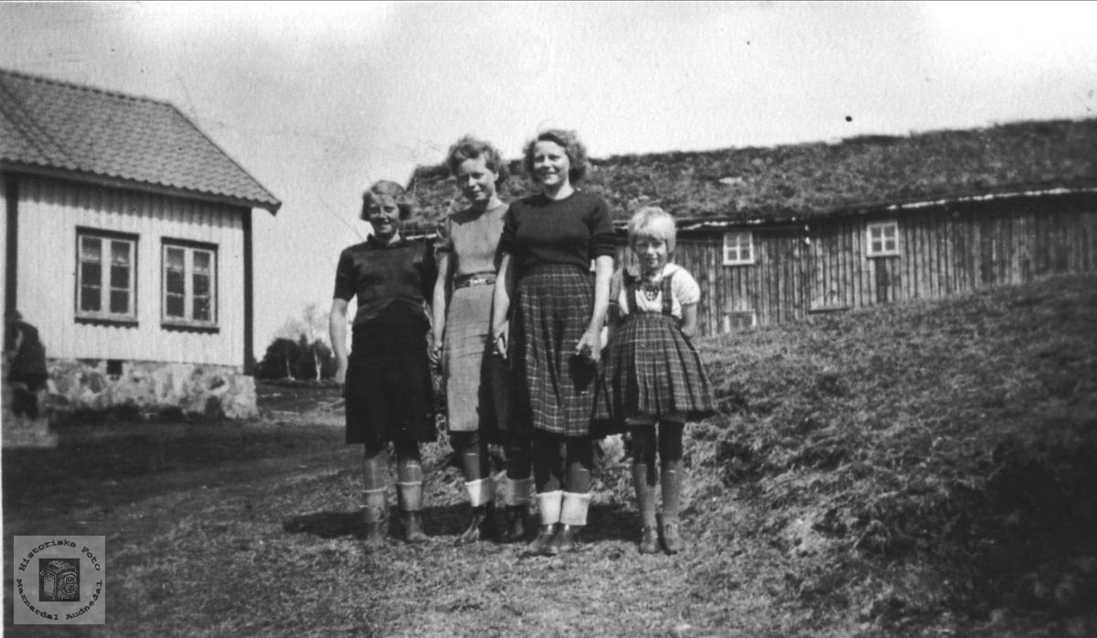 Gruppeportrett av fire søsken. Løyninga, Lindland.