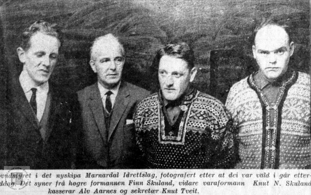 Hovedstyret i det nystifta Marnardal Idrettslag