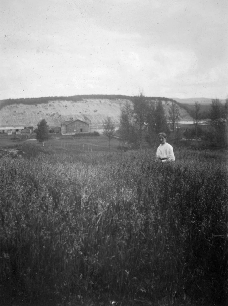 Emmy Heidenstrøm i Håheim (Haaheim) - familiens havreåker. I bakgrunnen kan man se bygninger og fjell.