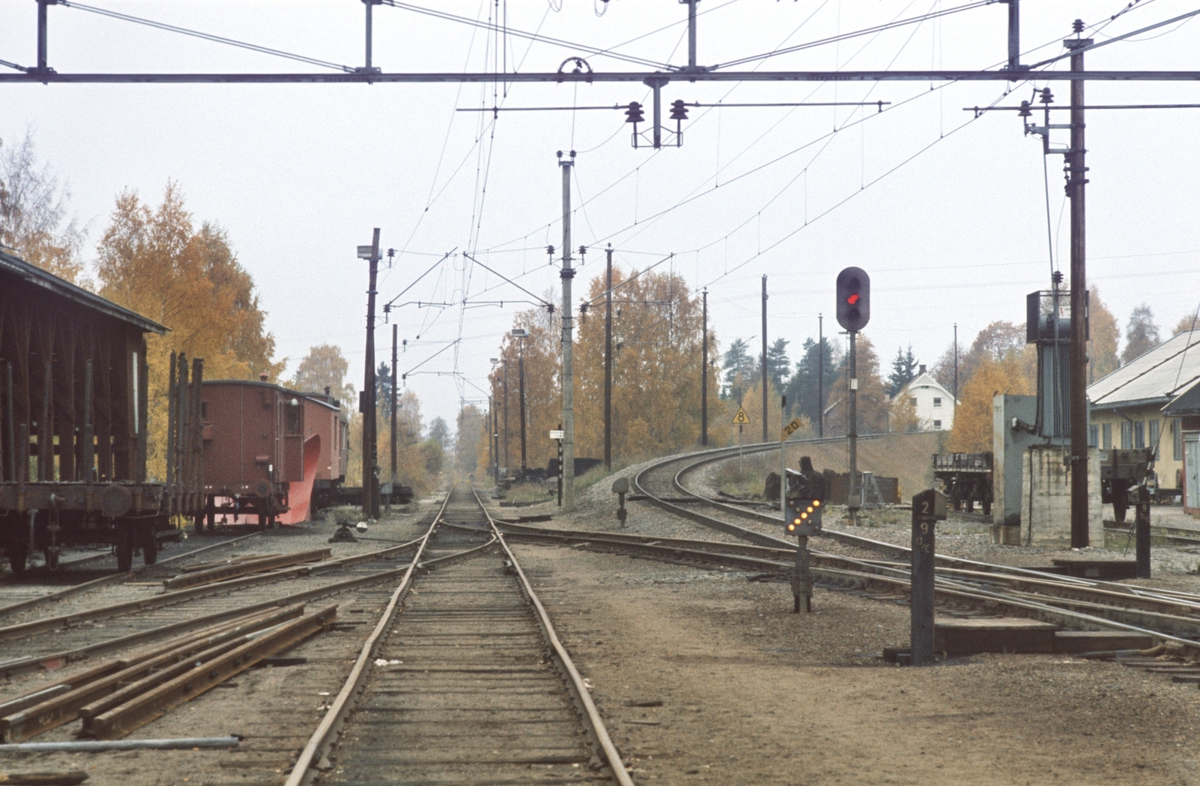 Jaren stasjon. Røykenviklinjen rett fram, Gjøvikbanen til høyre. Utkjørhovedsignal L, kryssporvekselsignal, lokalomstiller, sporrenser, losjivogner mm.