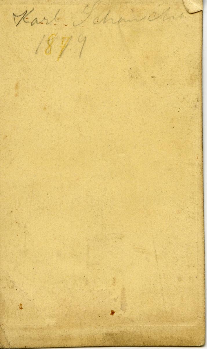 Halvkroppsportrett av en ung mann, Karl Schanche. Bildet er kopiert i ovalform