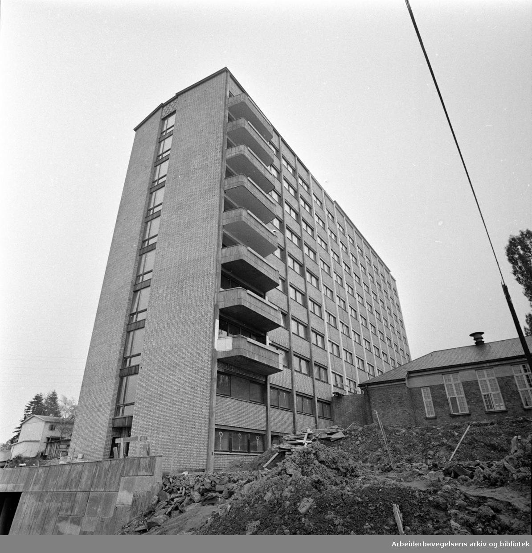 Aker sykehus. Ny indremedisinsk avdeling. Eksteriør. Oktober 1960