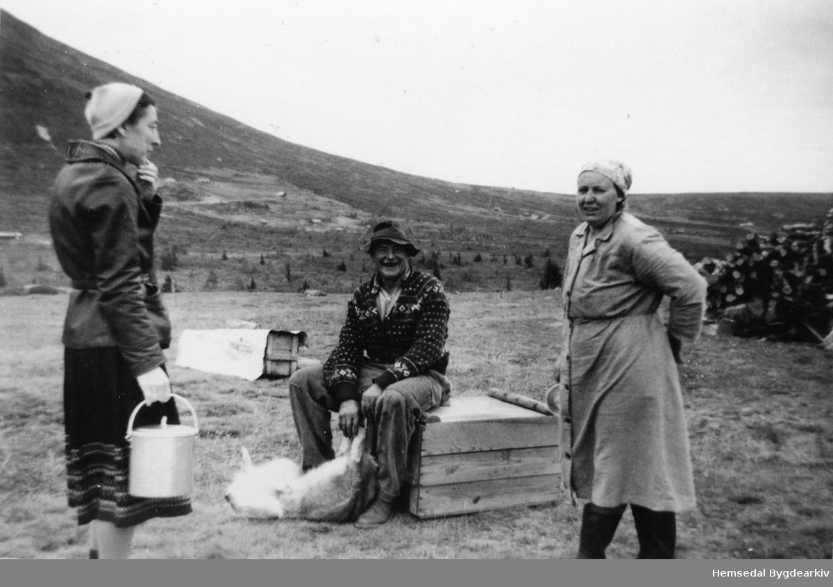 Frå venstre: bydame, Ola K. Grøthe og Anne Grøthe på Grøthestølen i Hemsedal i 1959.