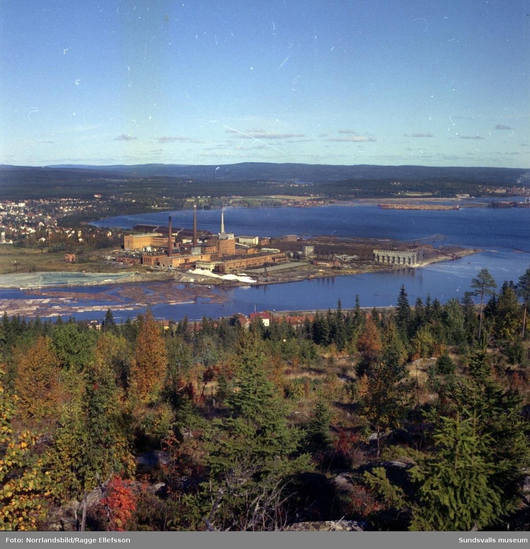 Östrandsfabriken fotograferad från Skönviksberget.
