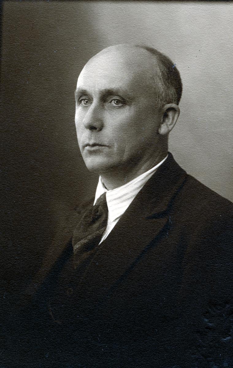 Portrett i halvfigur av mann kledd i mørk dress, slips og stripete skjorte.