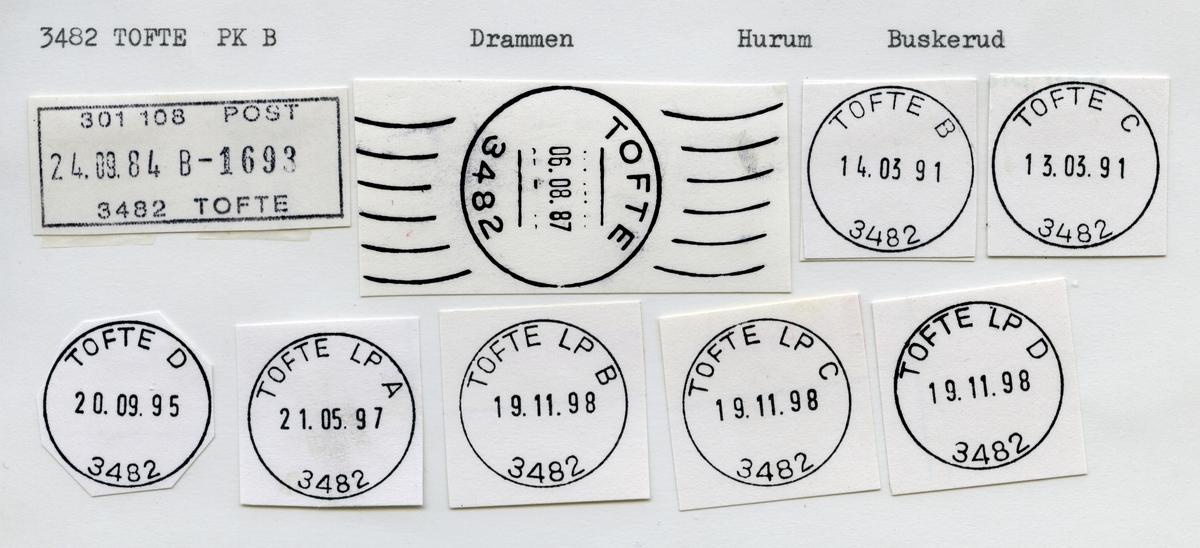 Stempelkatalog 3482 Tofte, Drammen, Hurum, Buskerud