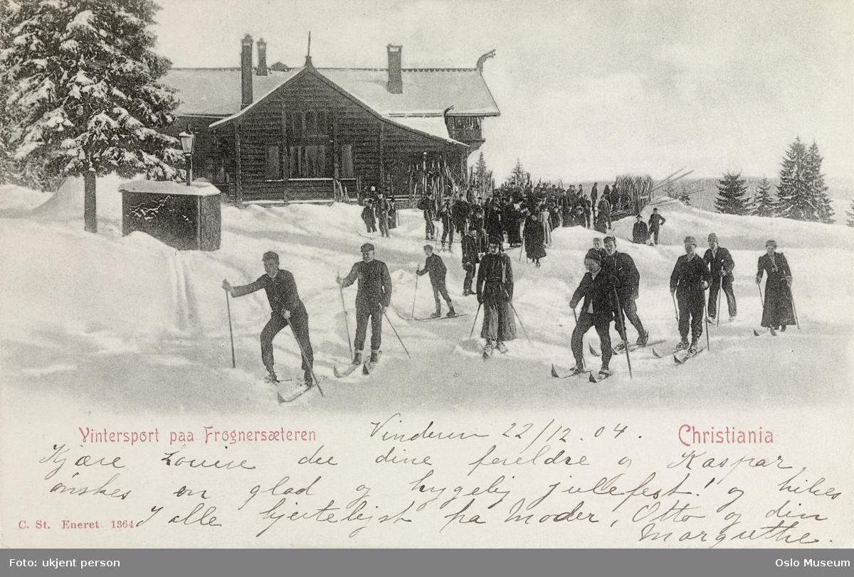Frognerseteren, mennesker, ski, snø