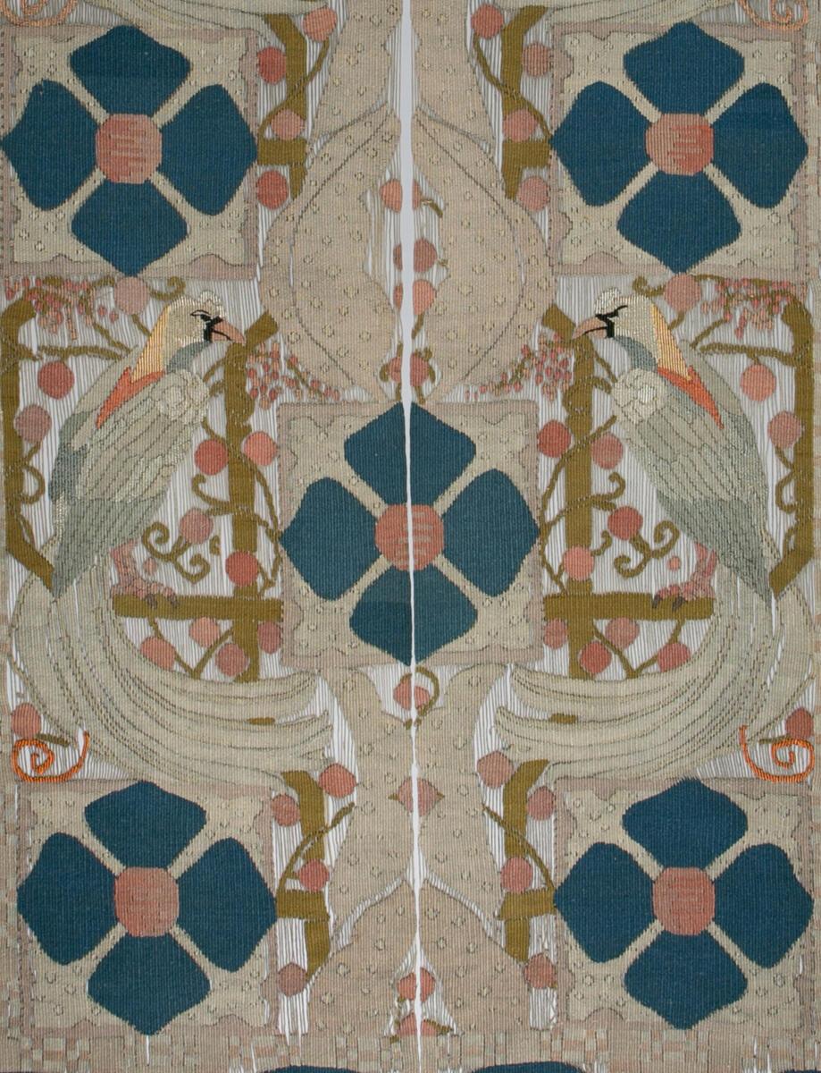"""Biletteppet """"Klematis og paradisfugler"""" av tekstilkunstnaren Frida Hansen (Foto/Photo)"""