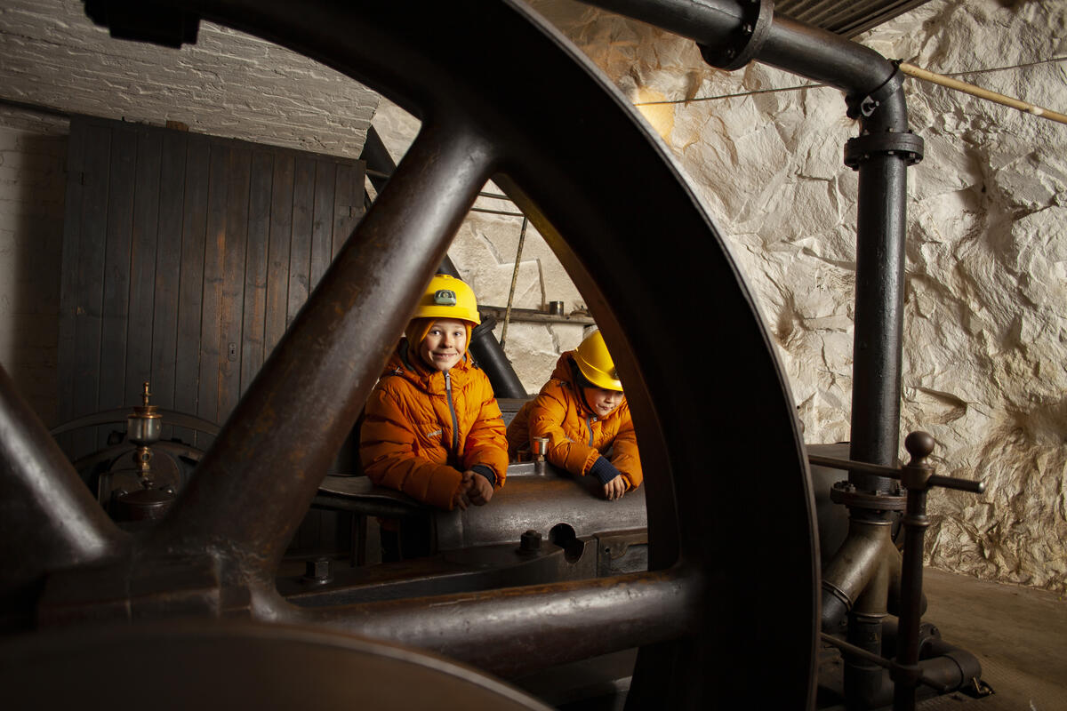 Gutter på omvisning i maskinrommet (Foto/Photo)