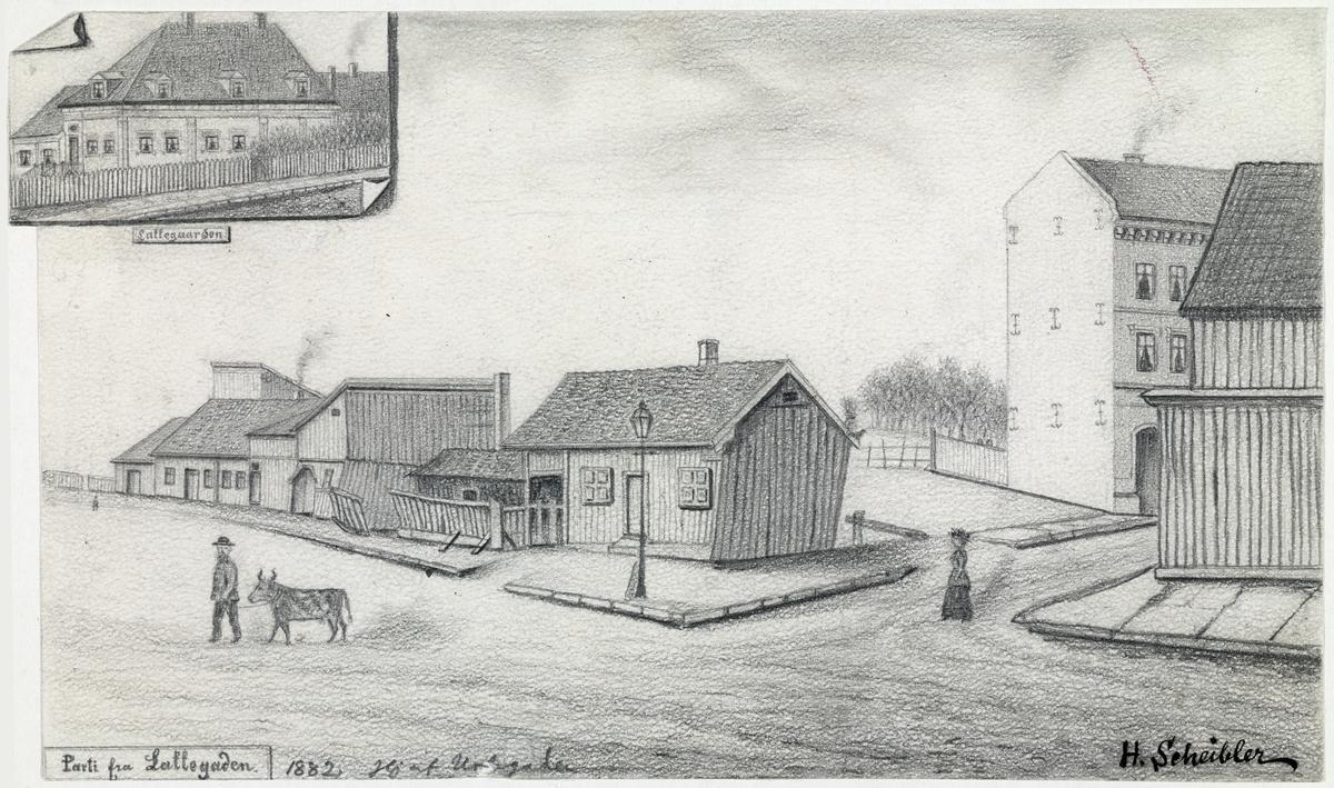 arkitektur, gateløp, folkeliv, bygninger, mann, kvinne, ku. Øverst i venstre hjørne er Lakkegården tegnet inn.