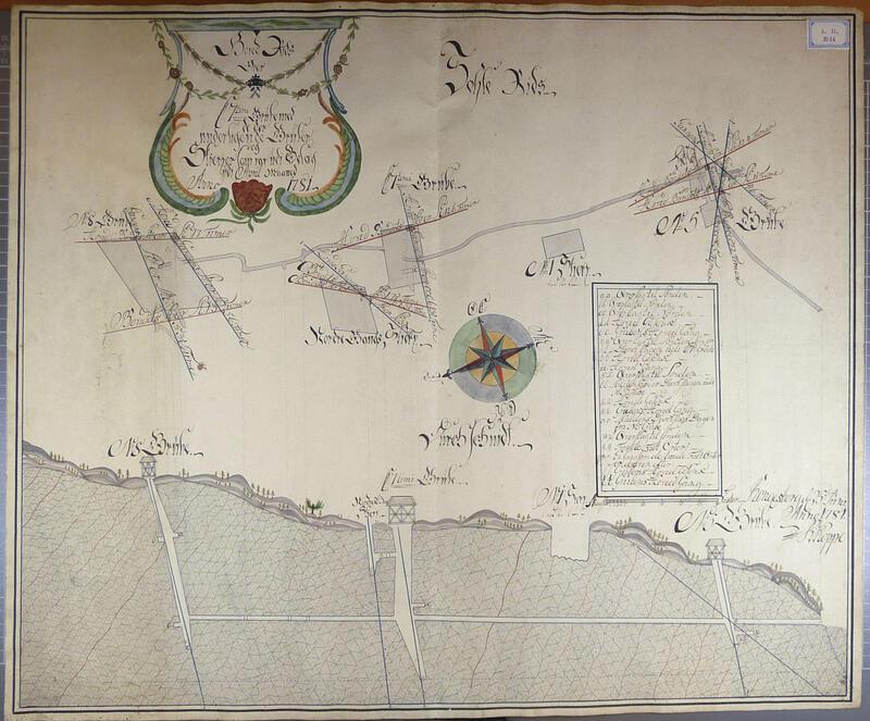 Tverrsnitt nord–sør gjennom Helgevannsgruvene med stollen 1781. Nr. 8 gruve lengst nord (t.v.), Christian 7. gruve (Nr. 4) i midten, den nedlagte Nr. 1, og Nr. 5 gruve lengst sør. (Riksarkivet KS II E II 14, K. Poppe) (Foto/Photo)