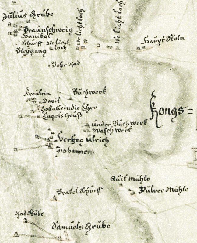 Utsnitt av kart fra 1746 som viser området Funkelia–Storåsen med pukkverkene langs Pukkverkselva og turstrekningen forbi borhjulet («Bohr-Rad») ved Hannibal gamle hjulstue, Underbergstollen («Haupt Stoln») med sine tre lichtloch, Underbergets gruver fra Samuel til Juels («Julius Grube»). Nede t.h. kruttmølla («Pulver Mühle») og kvikkmølla, et privat anlegg for amalgamasjon med kvikksølv av sølv fra avgangshauger. (P.F. von Langen, Norsk Bergverksmuseum KS II A VIII 28) (Foto/Photo)