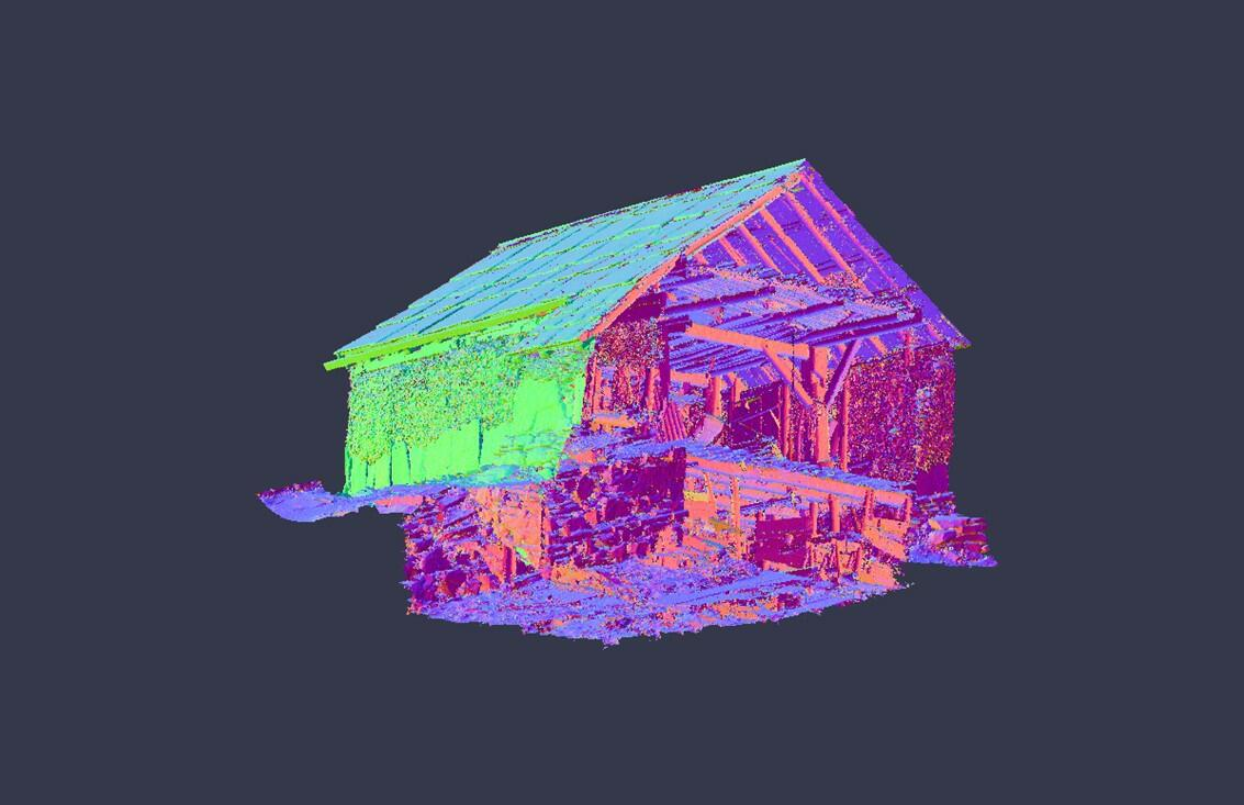 illustrasjon av ein laserskanna bygning sett nedanfrå (Foto/Photo)