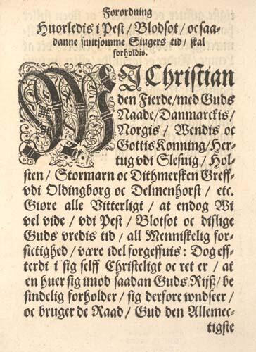 Forsiden på pestforordningen av 1625. (Det Kgl. Bibliotek, København) (Foto/Photo)