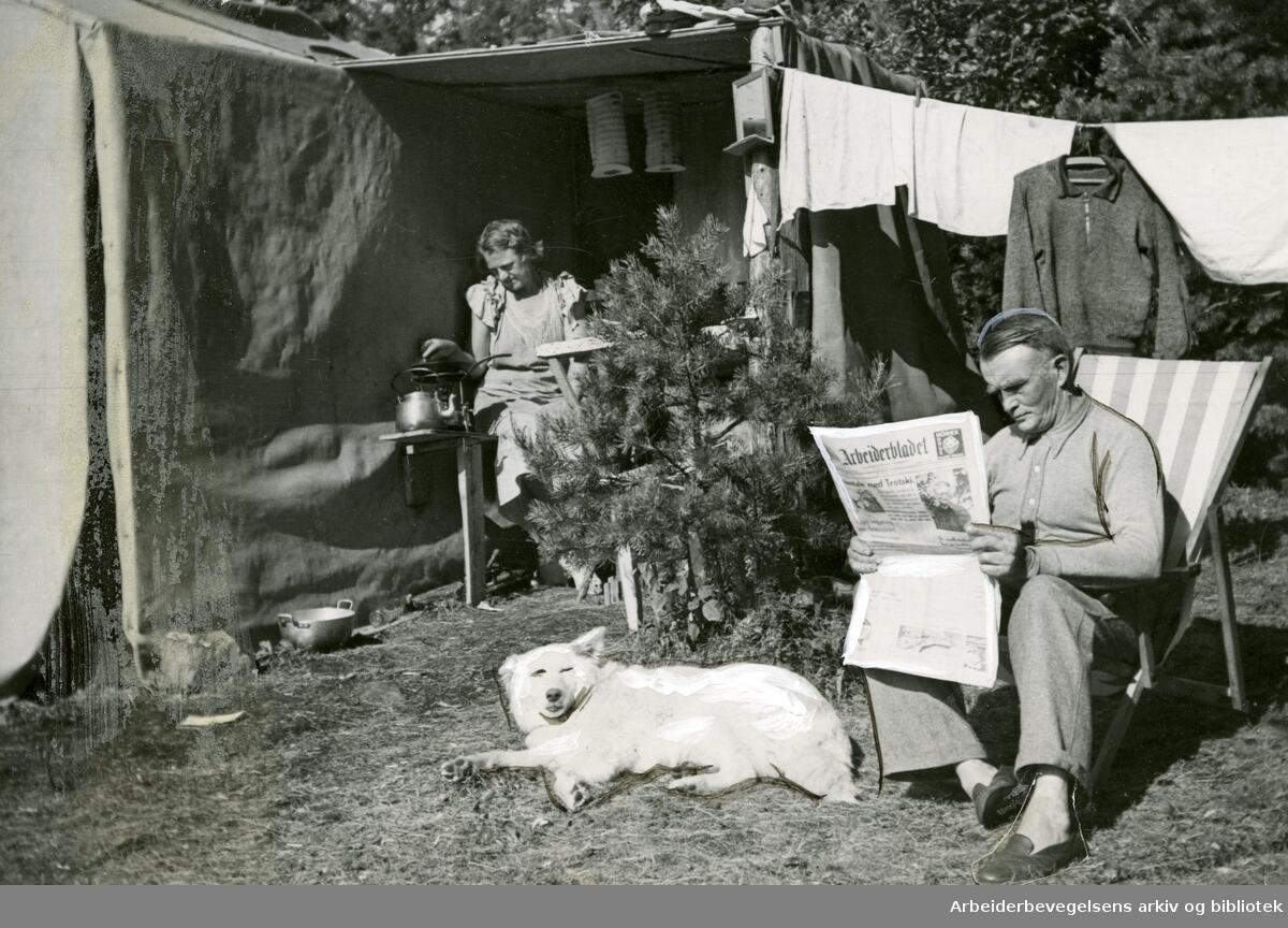 Ferieliv på Langåra i Oslofjorden, juli 1935. Foto: Arbeiderbevegelsens arkiv og bibliotek. (Foto/Photo)
