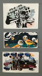 Ghostscreen, silketrykk: Mac and White (50x35cm) kr 2300 - Space Oddity (50x25cm) kr 1900 - Sommeren 86 eller 87 (52x30cm) kr 3000 (Foto/Photo)