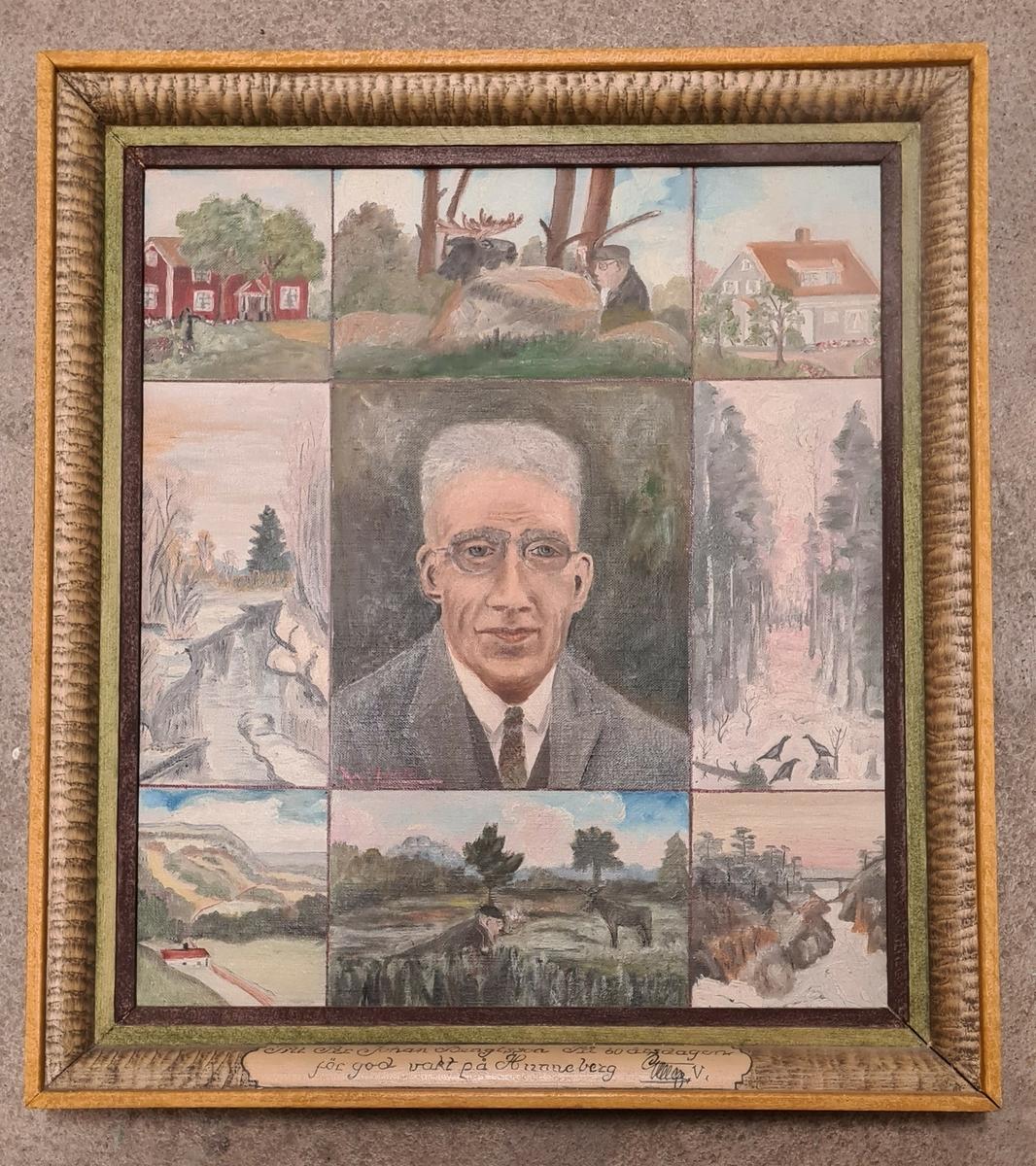 Målning över Per Johan Bengtsson och hans engagemang som vakt på Hunneberg som överlämnades till Per Johan på hans 60-årsdag. Målningen är inramad i en träram. W. Lundh har målat tavlan.