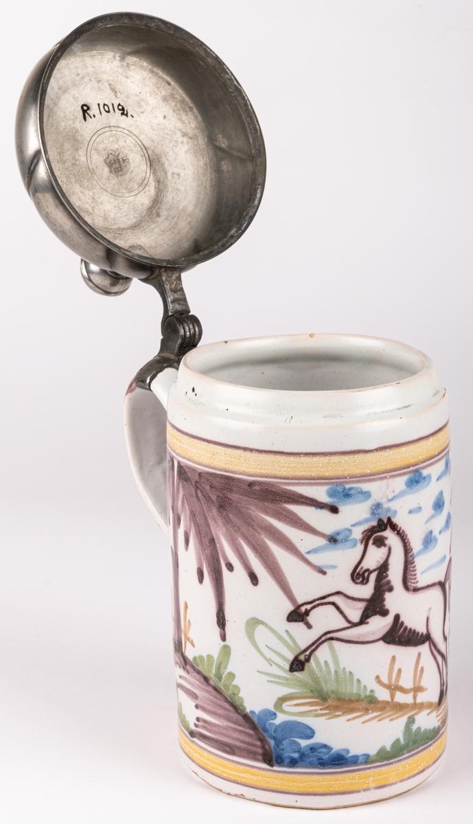 Storp i fajans och tenn, polykrom dekor. Märkt JF Gefina Fechtman 1844.