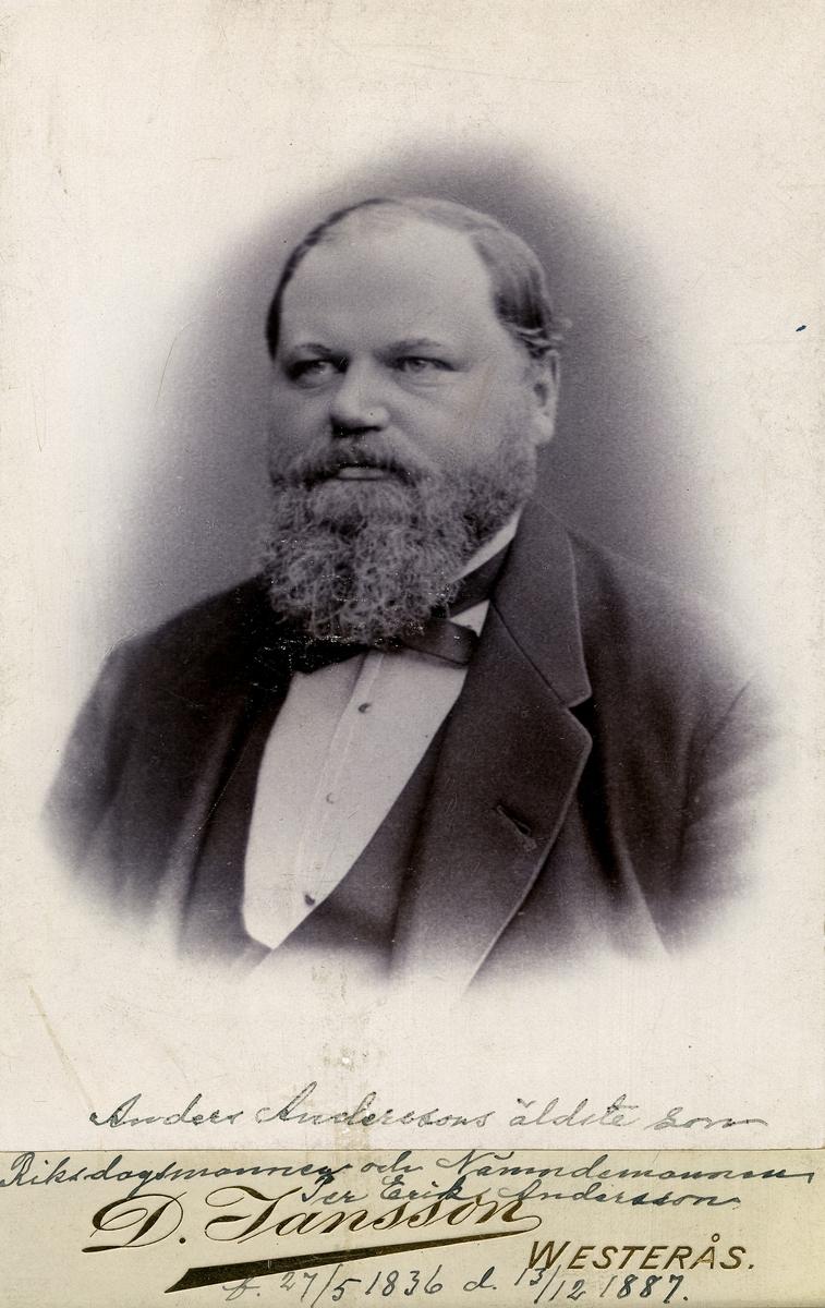 Siggebohyttans bergsmansgård.  Riksdagsmannen och nämndemannen Per Erik Andersson, född 27 maj 1836, död 13 december 1887. Anders Anderssons äldste son.