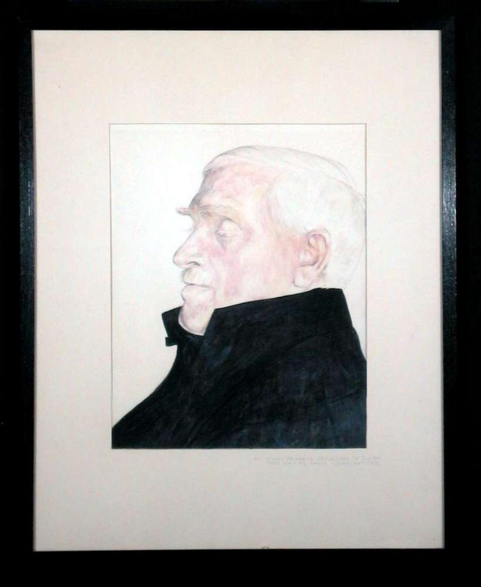 Portrett av eldre mann i profil.