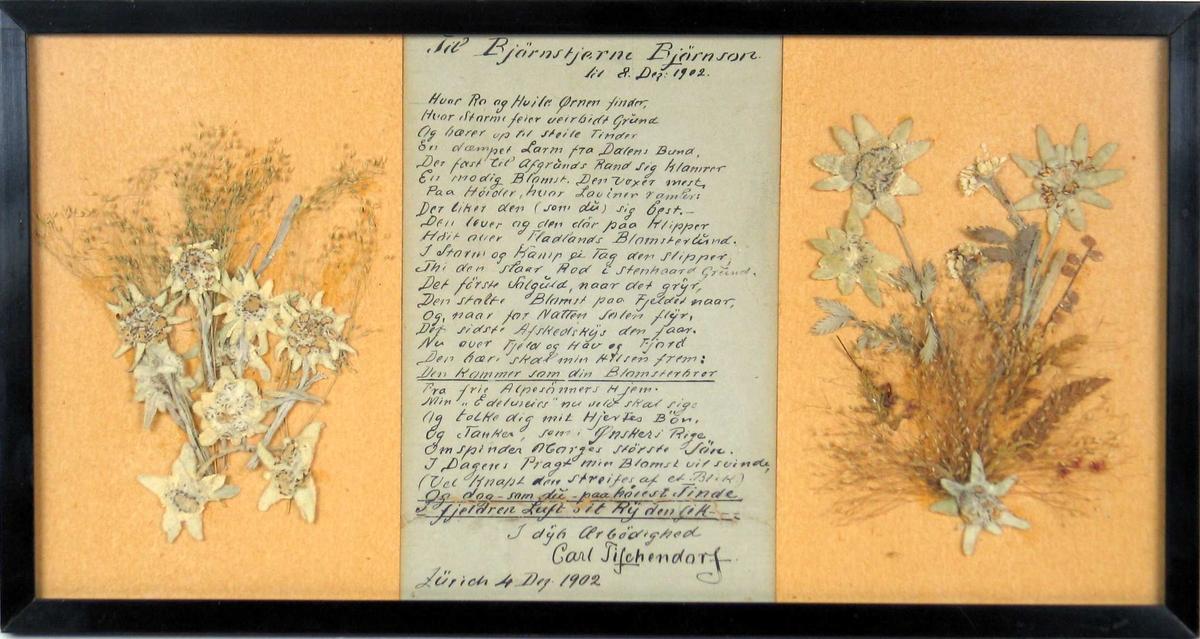 To edelweissbuketter er presset på hver side av håndskrevet dikt. Diktet er rammet inn med glass og svart treramme.