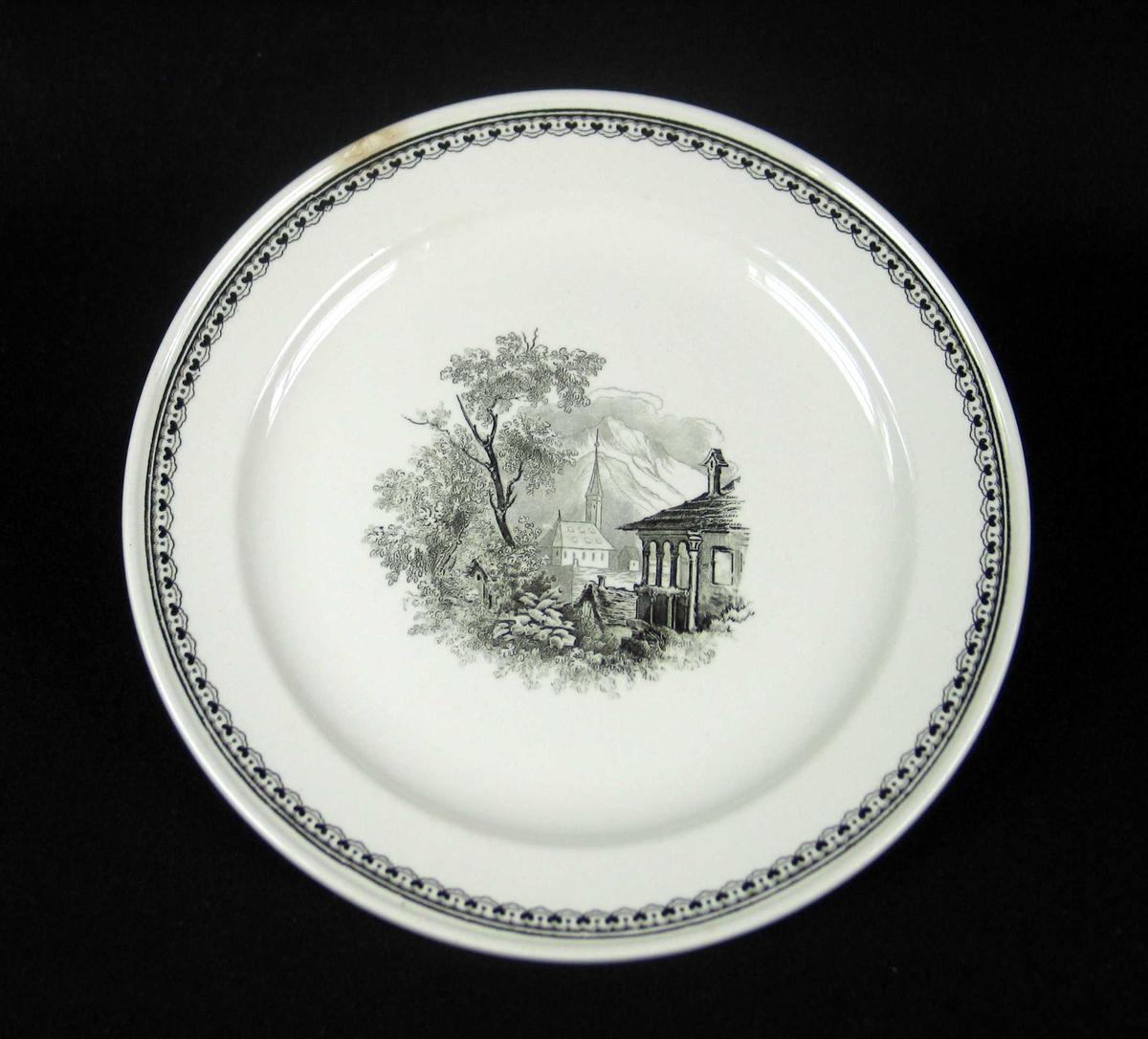 Asjett i offwhite keramikk med sort dekor.