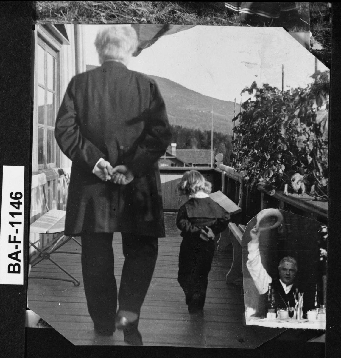 Fotomontasje, Bjørnson, veranda, Aulestad, barnebarn, spasertur,