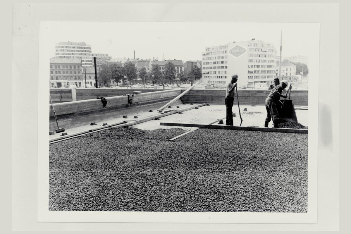 eksteriør, postterminal, Oslo, Postgiro, byggeprosess, 3 mann
