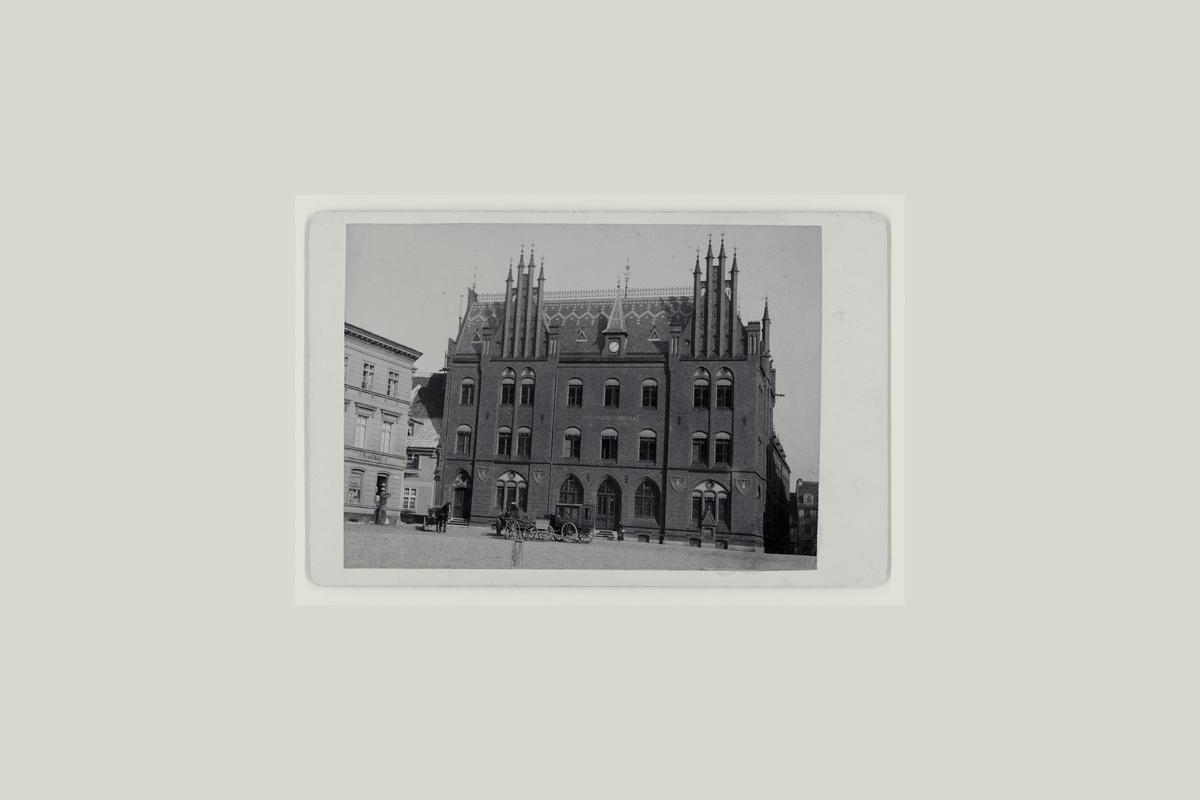eksteriør, postkontor, Tysk, Strausund, bil, hest