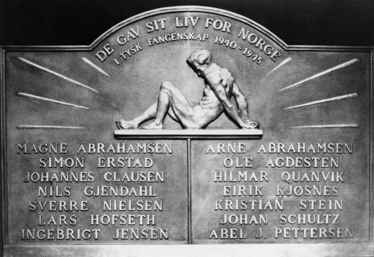 krigen, 2. verdenskrig, Bergen postkontor, minnetavle