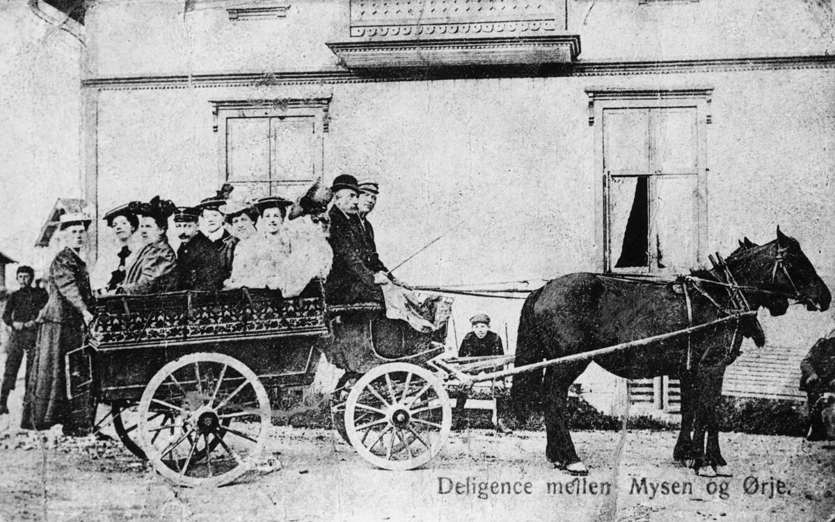 transport, to hester, vogn fire hjul, kvinner, menn, rute Mysen - Ørje