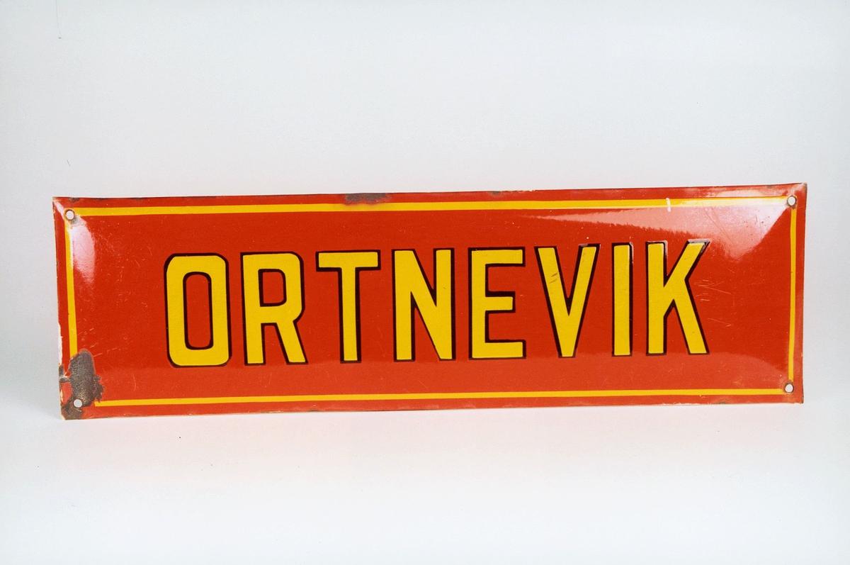 Postmuseet, gjenstander, skilt, stedskilt, stedsnavn, Ortnevik.