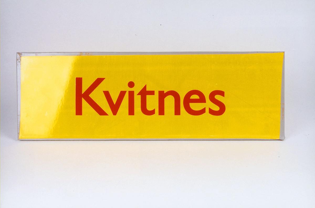 Postmuseet, gjenstander, skilt, stedskilt, stedsnavn, Kvitnes.