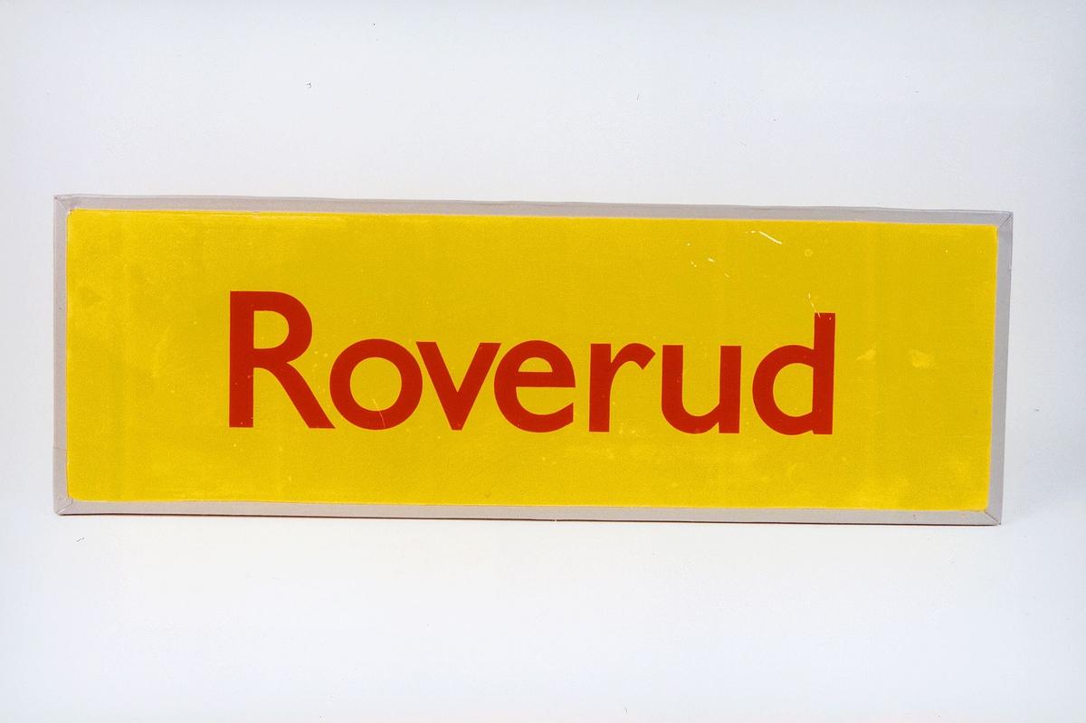 Postmuseet, gjenstander, skilt, stedskilt, stedsnavn, Roverud.