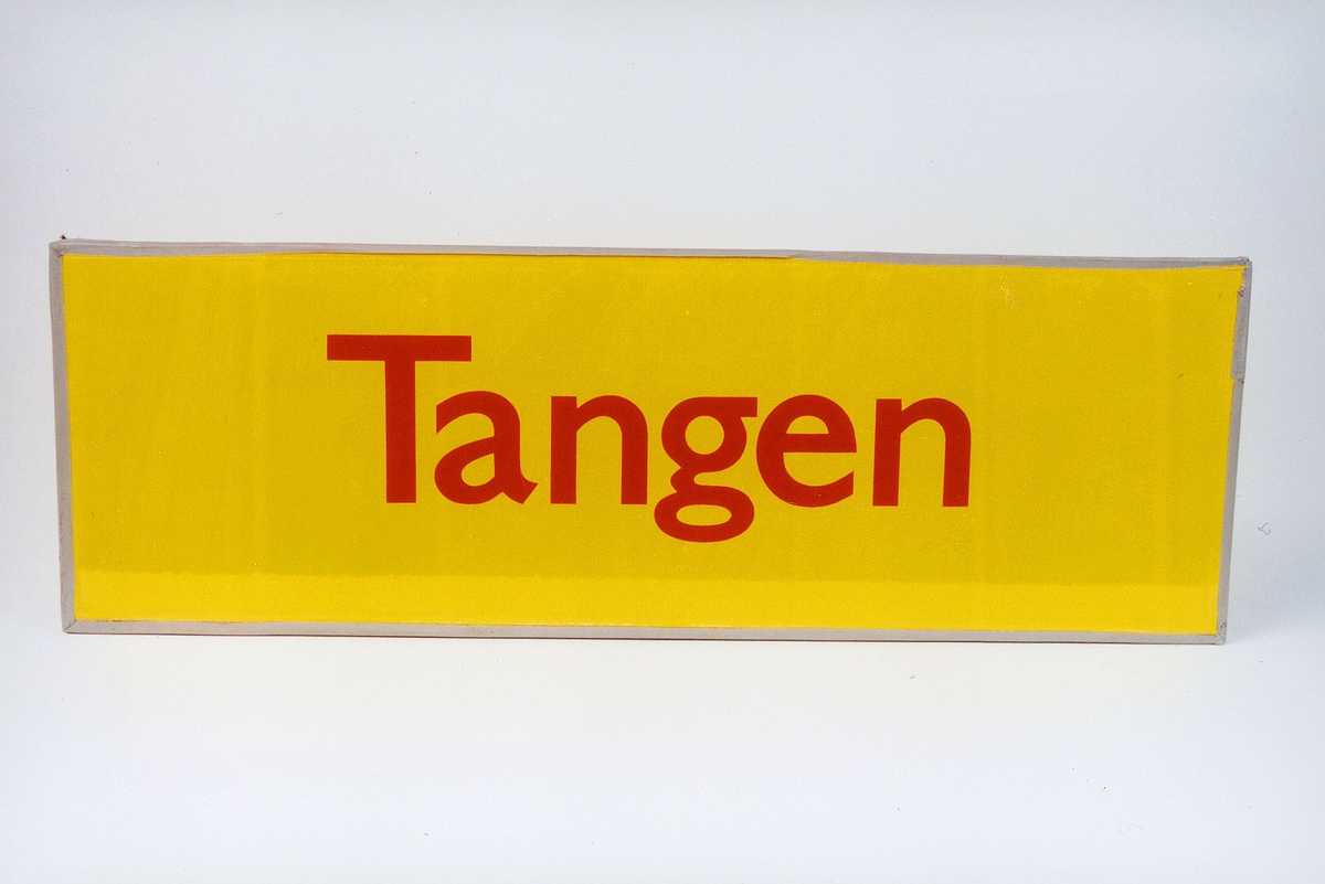 Postmuseet, gjenstander, skilt, stedskilt, stedsnavn, Tangen.