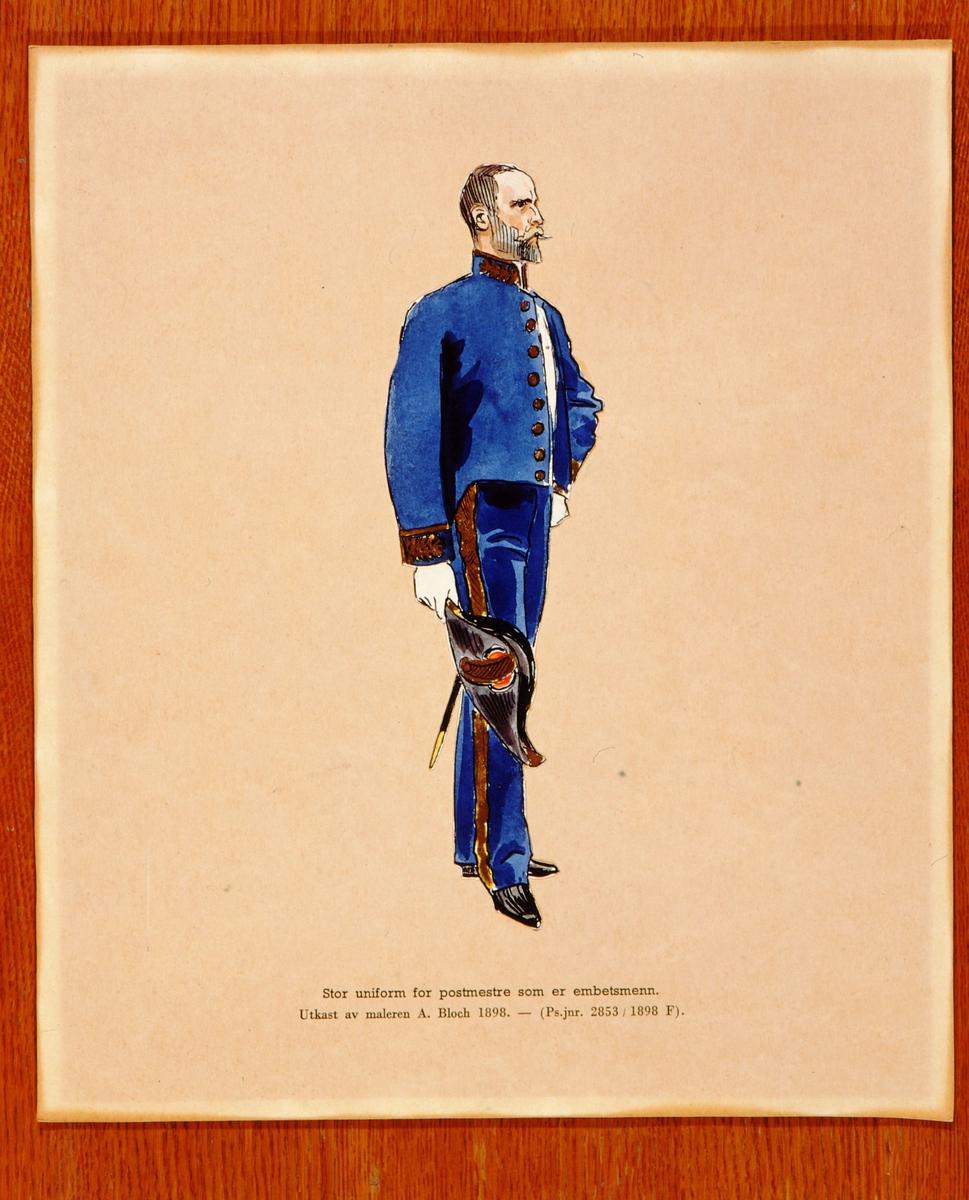 postmuseet, kunst, akvareller, uniformer, utkast, A. Bloch, Stor uniform for postmestre som er embetsmenn, motivet finnes også på CD-rom PRO1, bilde nr 70