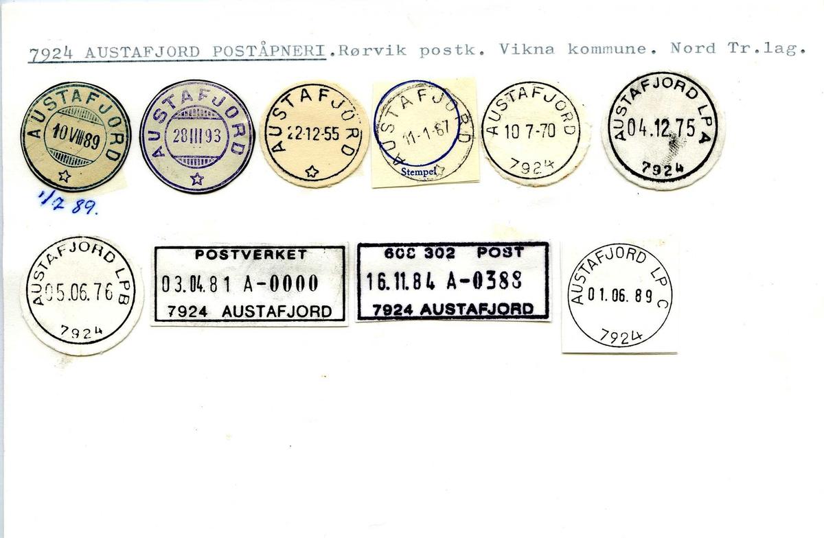 Stempelkatalog, 7924 Austafjord poståpneri. Rørvik postkontor. Vikna kommune. Nord-Trøndelag.