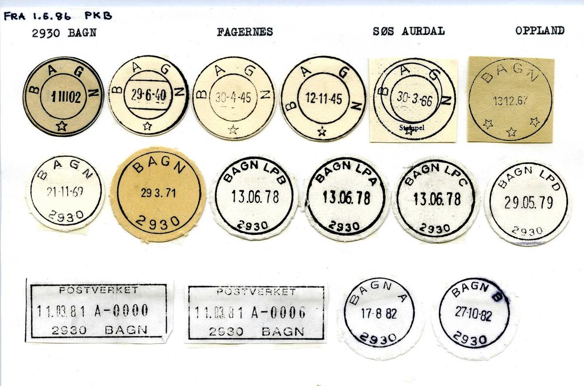 Stempelkatalog, 2930 Bagn postkontor, Fagernes postkontor, Sør-Aurdal kommune, Oppland.