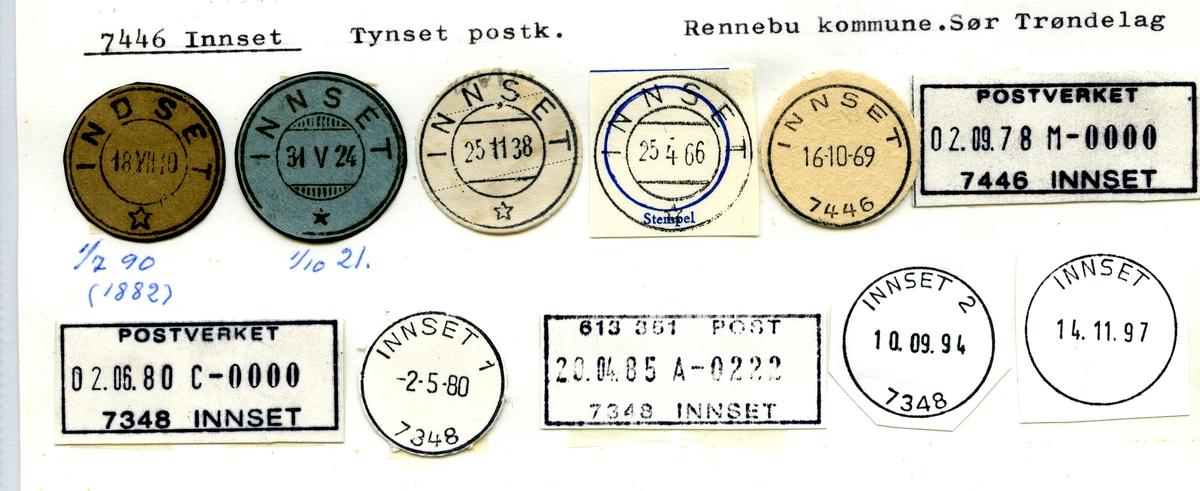 Stempelkatalog.7446 Innset, Tynset postk., Rennebu kommune, S.Trøndelag