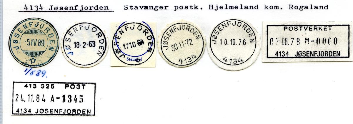 Stempelkatalog. 4134 Jøsenfjorden, Stavanger postk., Hjelmeland kommune, Rogaland