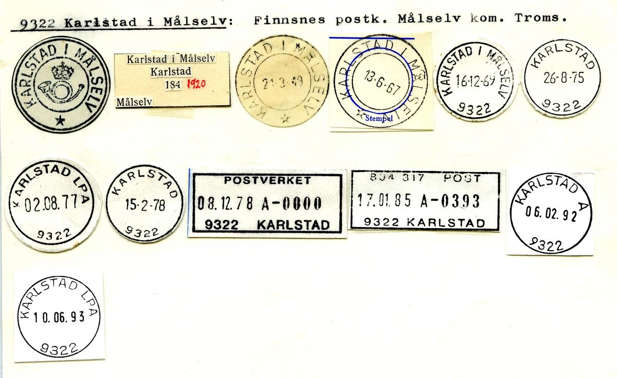 Stempelkatalog  9322 Karlstad i Målselv, Målselv kommune, Troms