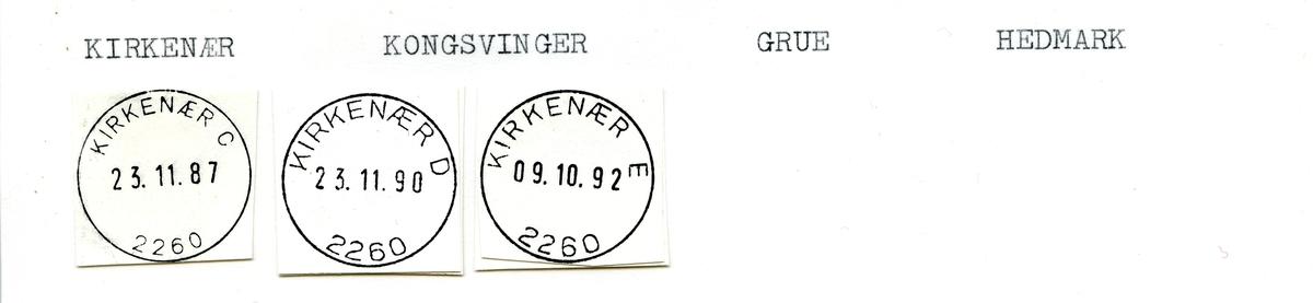 Stempelkatalog 2260 Kirkenær, Kongsvinger, Grue kommune, Hedmark