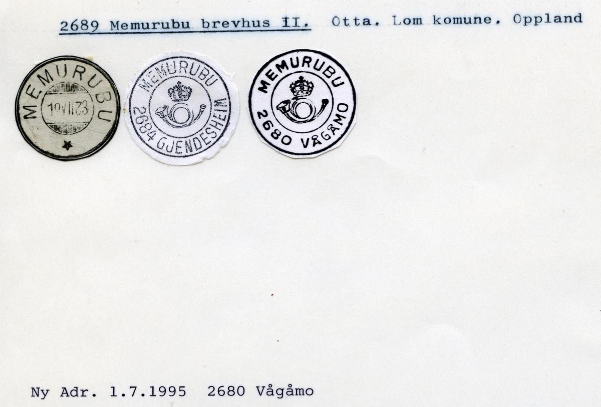 Stempelkatalog 2689 Memurubu, Lom kommune, Oppland