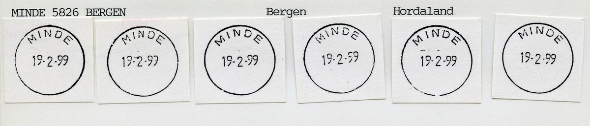 Stempelkatalog  5032 Minde, Fana kommune, Hordaland (Mindet i Hordaland)