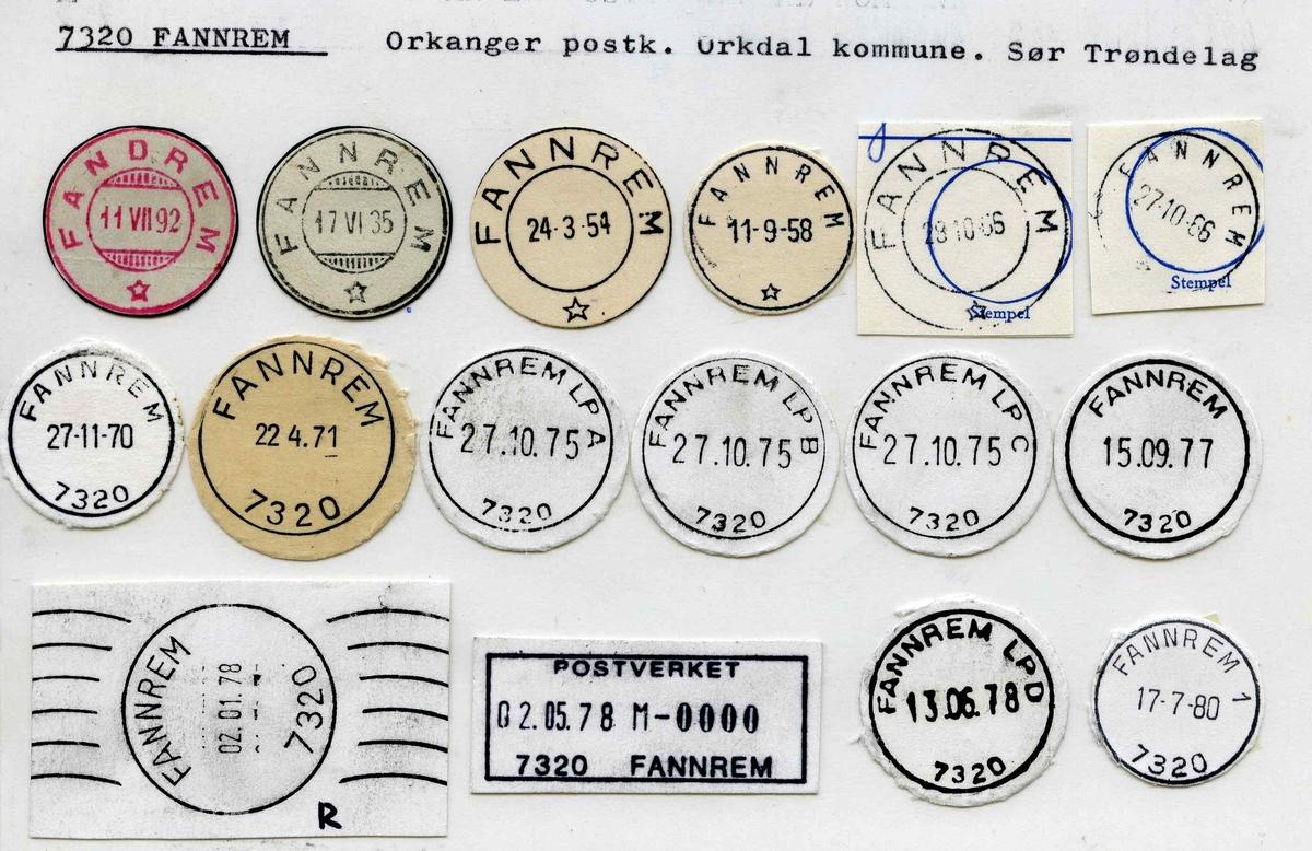 Stempelkatalog 7320 Fannrem, (Fandrem), Orkdal, Sør-Trøndelag