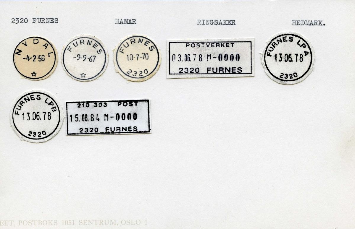 Stempelkatalog.2320 Furnes, Hamar, Ringsaker, Hedmark