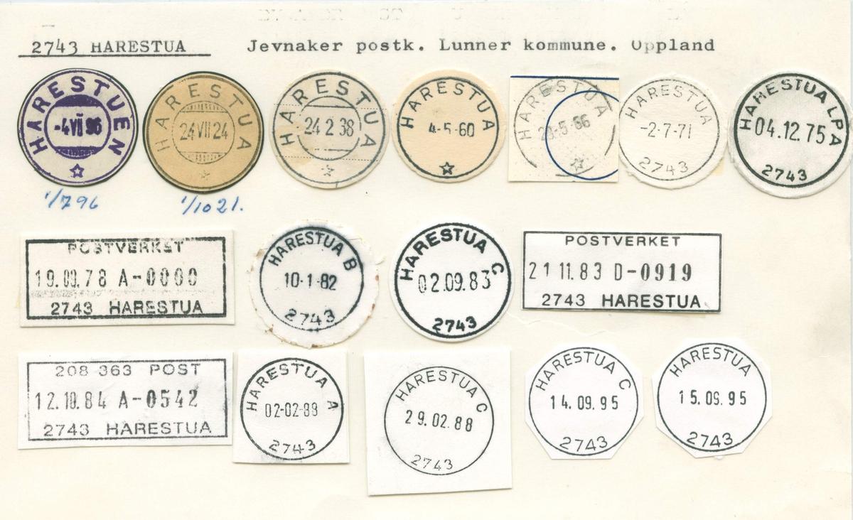 Stempelkatalog. 2743Harestua. Jevnaker postkontor. Lunner kommune. Oppland fylke.